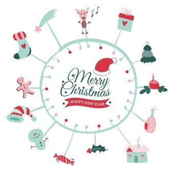 메리 크리스마스 낙서와 현대 크리스마스 휘장 서예 로고 벡터와 크리스마스 엽서
