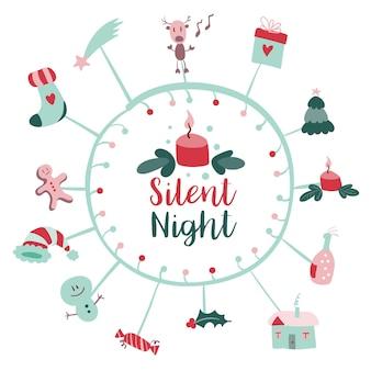 陽気なクリスマスの落書きと現代のクリスマスの記章callygraphicロゴベクトルとクリスマスポストカード