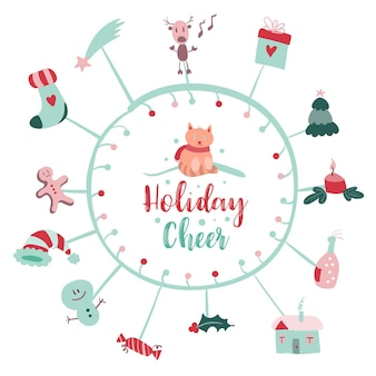Christmas post card with merry xmas doodles and modern christmas insignia callygraphic logo vector