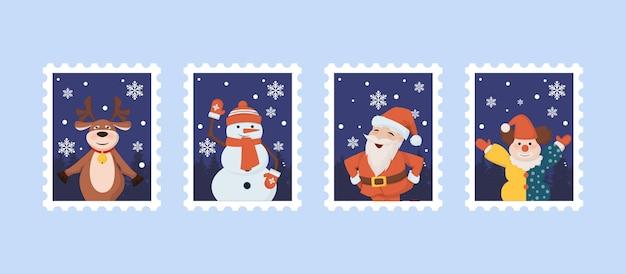 サンタ、トナカイ、雪だるま、サンタクロース、ピエロのクリスマス切手。