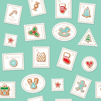 Christmas postage stamps seamless background.
