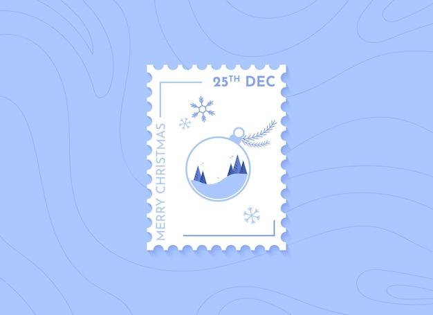 Christmas postage stamps with christmas ball