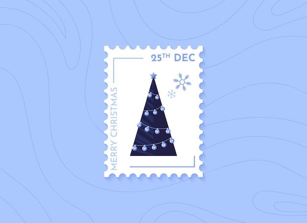 Christmas postage stamps with christmas tree