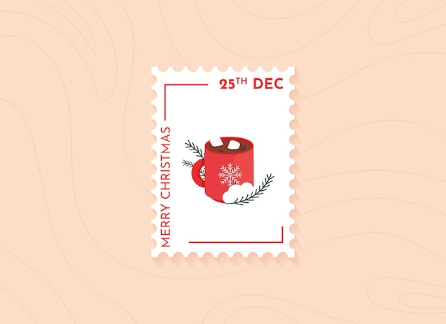 Christmas postage stamps with a cup of coffee