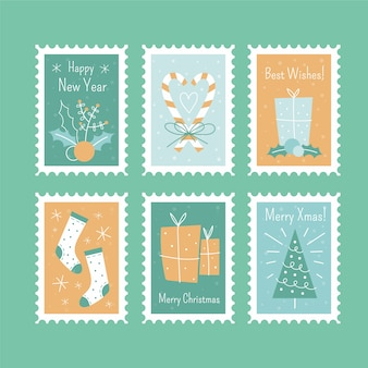 Christmas postal stamps set isolated hand drawn