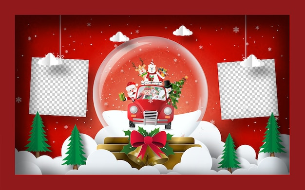 空白の写真のクリスマスポストカードバナーの背景