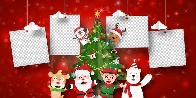 Christmas postcard banner of santa claus and friends with photo frame