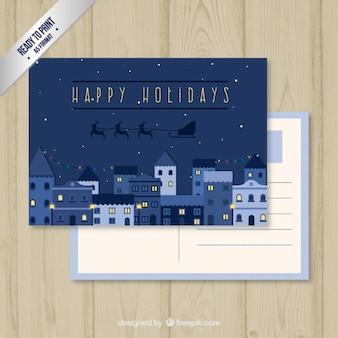 Christmas postcard in blue tones