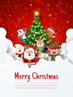 Рождественская открытка деда мороза и рождественских милых животных с елкой на небе