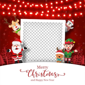 Christmas postcard of photo frame with santa claus and friends