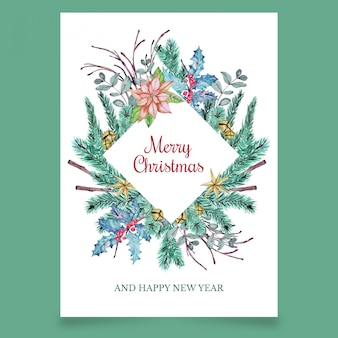 Christmas postcard with coniferous branches and flower