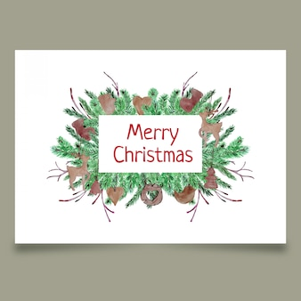 Christmas postcard with coniferous branches and wooden toys
