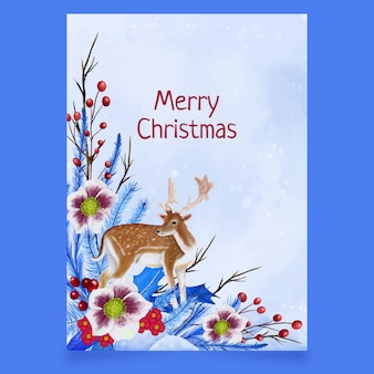 Christmas postcard with deer, leaves and flowers