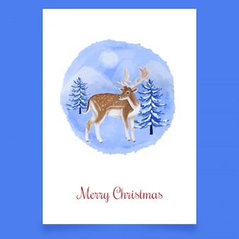 Christmas postcard with deer and tree greeting card