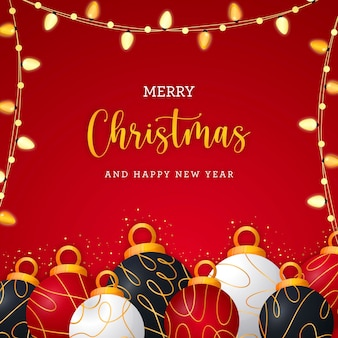 우아한 크리스마스 공과 조명이 있는 크리스마스 엽서