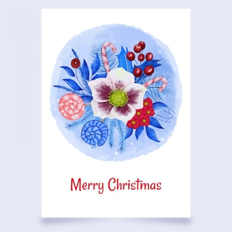 Christmas postcard with flowers and sweets