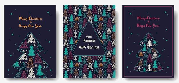 新年の休日のための森のあるクリスマスのポストカードデザインのための木のある冬の背景