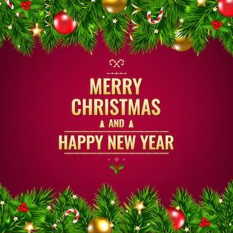 Рождественская открытка с гирляндами и украшениями