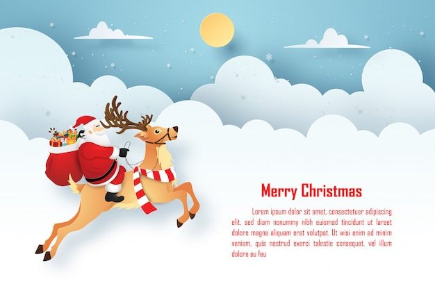Christmas postcard with santa claus and reindeer on the sky