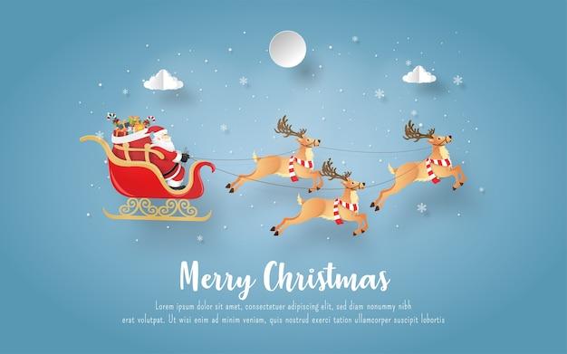 Christmas postcard with santa claus and reindeer