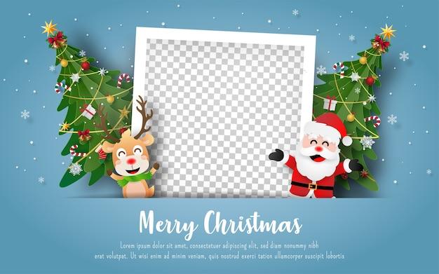 Christmas postcard with snowman and blank photo frame