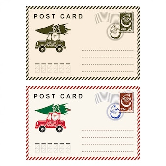 Christmas postcard with stamp  template holiday letter isolated on white .