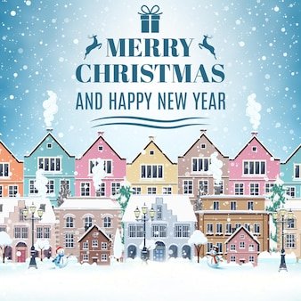 Рождественская открытка с винтажной улицей