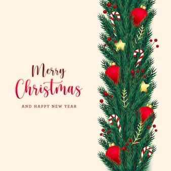 Рождественские открытки венок с реалистичными еловыми ветками и декоративными элементами
