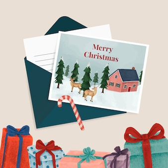 Christmas postcards and presents