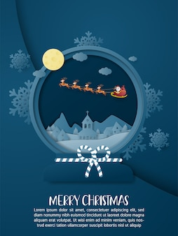 Christmas poster background with santa claus over the city in the night