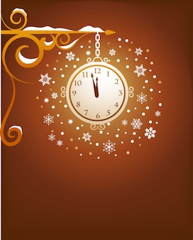 Christmas poster, banner or greeting card background with a magical clock and snowflakes.