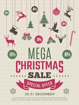 Christmas poster for big sales. new year voucher deals discounts  coupon template