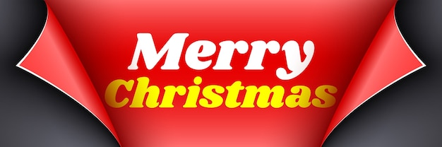 Christmas poster. black ribbon with curved edges on red background. sticker.