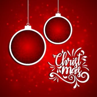 クリスマス、ポスター、クリスマス、抽象的、ボール、タイポグラフィ、赤、背景