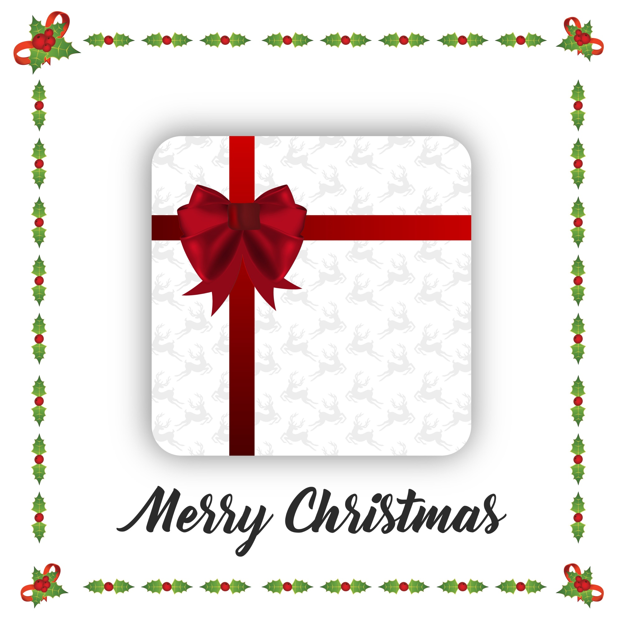Christmas Poster having christmas giftbox and frame on white background with tpography