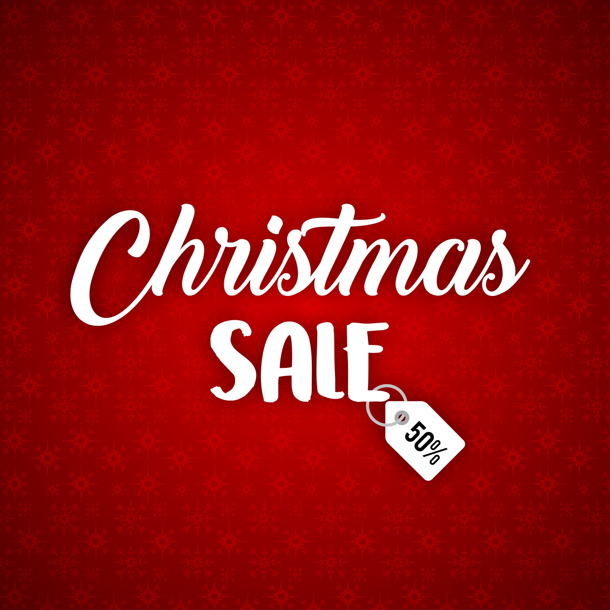 Christmas poster having christmas sale typography on red background