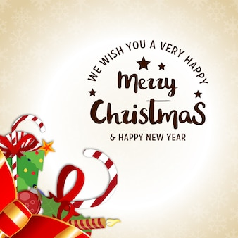 Christmas poster having creative christmas typography and christmas realistic elements