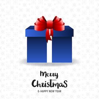 クリエイティブなクリスマスのタイポグラフィーとギフトボックスを持つクリスマスポスター