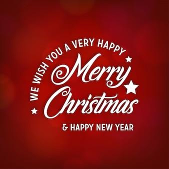赤い抽象的な背景に創造的なクリスマスのタイポグラフィーを持つクリスマスポスター