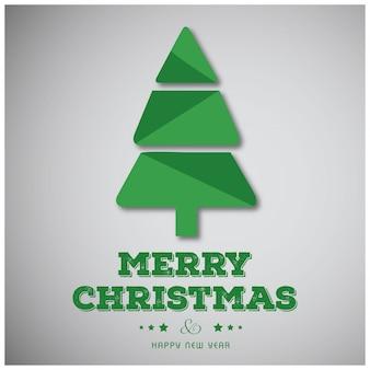 緑の木と緑色の独創的なタイポグラフィの灰色の背景を持つクリスマスポスター。