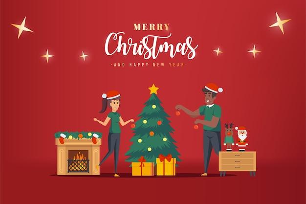 クリスマスのキリスト教徒のクリスマスポスターイラストデザイン
