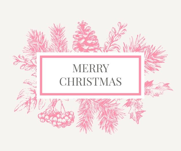 クリスマスポスター-イラスト。クリスマスツリーの枝とクリスマスフレームのレタリングイラスト。