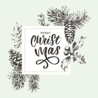 Christmas poster - illustration. lettering vector illustration of christmas frame with branches of christmas tree.