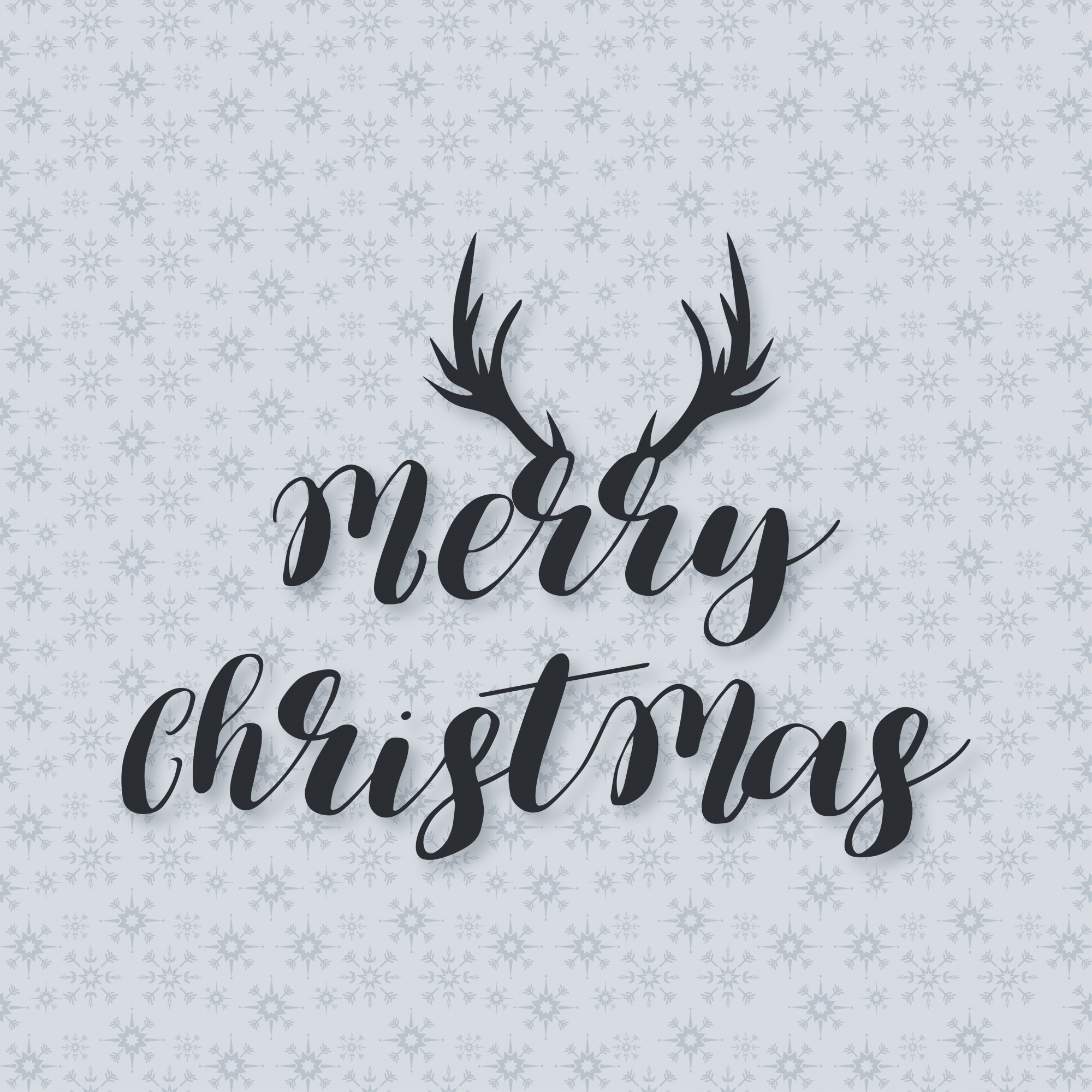 Christmas Poster including creative typography with Deer Horns on snowflake pattern background