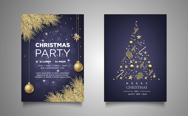 Christmas poster invitation party background with realistic decoration