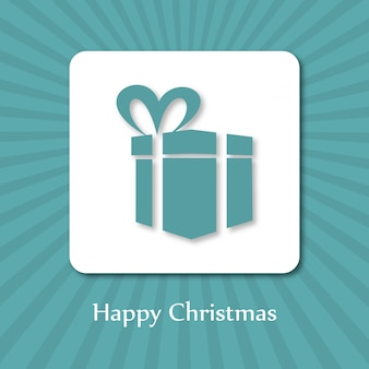 Christmas poster. merry christmas. happy new year. blue gift box in white box