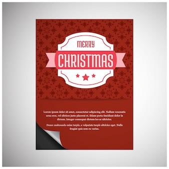 크리스마스 포스터. 메리 크리스마스. 새해 복 많이 받으세요. 크리스마스 브라운 브로셔. 흰색 배경