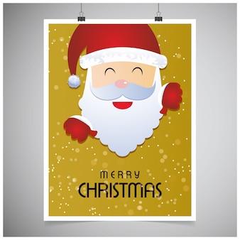 크리스마스 포스터. 메리 크리스마스. 새해 복 많이 받으세요. 노란 색에 크리스마스 산타 포스터입니다. 회색 배경