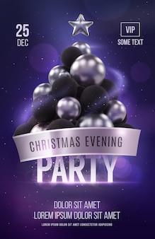 銀のクリスマスツリーとクリスマスポスターパーティーテンプレート