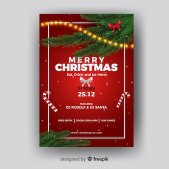 Christmas poster pine leaves corners template